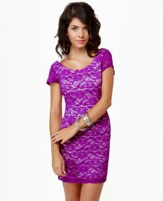 Closing Credits Purple Lace Dress   Love this style! would want in a medium though! =D <3