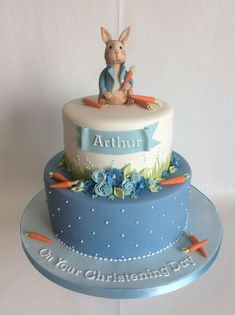2 tier Peter Rabbit Christening cake in shades of blue Peter Rabbit Party, Peter Rabbit Cake, Peter Rabbit Birthday, 2 Tier Birthday Cakes, 1st Boy Birthday, Baby Boy Christening Cake, Boy Baptism, Baby Boy Christening Decorations, Girl Cakes
