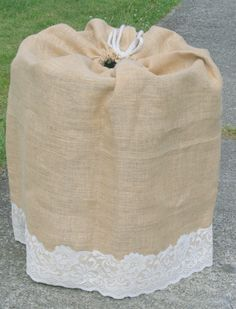 Best idea ever! over that ugly keg at your wedding or party! Burlap Keg Bag with Vintage LACE - Custom Rustic country wedding decor