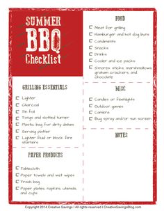 Download this free summer BBQ checklist and ALWAYS remember what to bring for your next picnic. Includes an extra space for notes and is great for planning ahead!