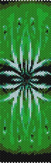 BPGF0002 Green Flower Even Count Single Drop Peyote Cuff/Bracelet Pattern