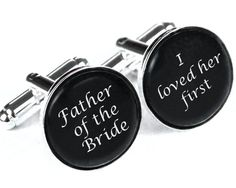 Custom monogram cuff links, Personalized father of the bride wedding date cufflinks, Wedding cuff links, groom gift, groomsmen gift. $12.99, via Etsy.