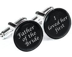 Custom monogram cuff links, Personalized father of the bride wedding date cufflinks, Wedding cuff links, groom gift, groomsmen gift. $12.99, via Etsy.