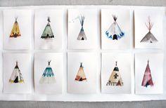 Choose 7 Teepees Get 1 FREE Watercolor Painting Prints