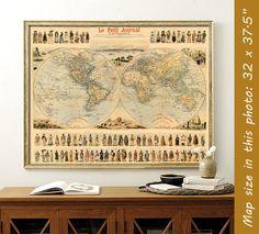 Mapa de Vintage antiguo mapa - mapa del mundo histórico - del mundo - antiguo ilustrado imprimir mapa de mundo
