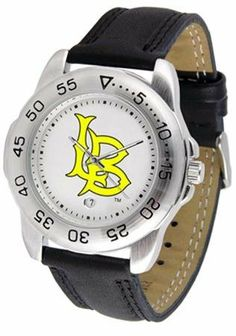 """Long Beach State 49ers Suntime Sport Leather Mens NCAA Watch by SunTime. $49.95. New Page 1     Long Beach State 49ers Suntime Sport Leather Mens NCAA  Watch  Attractive, High Quality, Hot Selling Officially Licensed Timepiece  Solid Stainless Steel 1.75"""" Diameter Case  Genuine Leather 9.5"""" Strap (Including Watch) With Buckle Clasp  Unidirectional Rotating Bezel  Shock Resistant  Luminous Hands  Date Display at 6 o'clock  Water Resistant to 30 Meters/100 ft.  Scratch Resistant ..."""