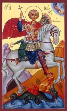 George the Martyr Byzantine Icons, Byzantine Art, Religious Icons, Religious Art, Dragon Icon, Saint George And The Dragon, Church Icon, Sign Of The Cross, Bible Pictures