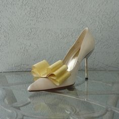 Golden Ribbon Bow Shoe Clips Set Of Two More by Chuletindesigns, $16.00