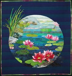 water lily landscape in a circle Quilt Inspiration: Gardens of Dreams: the art quilts of Vyvyan Emery Quilting Projects, Quilting Designs, Asian Quilts, Landscape Art Quilts, Landscapes, Hawaiian Quilts, Flower Quilts, Dream Art, Exotic Flowers