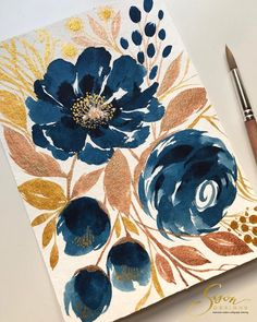 Some blues & metallics on this almost breezy kind of weekend ✨ ✔️Paper: 400 series watercolor pad ✔️Paint: Cotman & Finetec (Bronze & Gold) ✔️Brush: locally bought brush . Watercolor Flowers, Watercolor Paintings, Watercolor Lettering, Watercolours, Painting Inspiration, Art Inspo, Guache, Botanical Art, Painting & Drawing