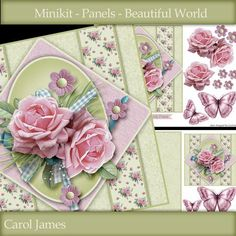 Minikit Panels Beautiful World on Craftsuprint designed by Carol James - A beautifully simple floral 7 x 7 topper with some decoupage pieces and 5 sentiment tags (plus a blank tag). The second sheet has an insert, a small version of the main card which can be used as a tag or an additional small card, some butterflies to place as you wish and additional tags.Sentiments include:Birthday WishesHappy BirthdayHappy AnniversaryFor You My FriendWith Thanks - Now available for download!