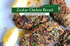 This za'atar chicken breast recipe is super simple to make and yet flavorful. The spice blend gives the basic chicken breast an explosion of middle easter Middle Eastern Chicken, Middle Eastern Recipes, Chicken Breast Fillet, Roasted Chicken Breast, Mediterranean Chicken, Mediterranean Diet Recipes, Zaatar Recipe, Marinated Lamb, Garlic Roasted Potatoes