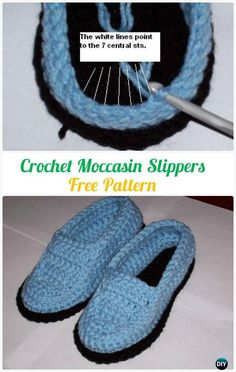 Crocheted Men Moccasin Slippers FreePattern