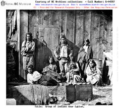 Indians at Lytton B. Indian group at Lytton where the Thompson River joins the Fraser River. Indian Chief in Buckskin coat and fur hat also Indian woman nourishing her child in a basket cradle. These indians [sic] ride on horseback and differ very muc Fraser Canyon, Fraser River, First Nations, Pacific Northwest, British Columbia, Vancouver, History, Fictional Characters, Group