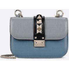 Valentino Garavani Small Chain Shoulder Bag (3 345 AUD) ❤ liked on Polyvore featuring bags, handbags, shoulder bags, slate blue, valentino handbags, studded purse, multicolor handbags, colorful handbags and one strap purse