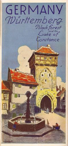 https://flic.kr/p/7QKkez | German Railways guide - Wurttenberg, Black Forest and the Lake of Constance, illustrated by Bruno Bielefeld?, 1936 | A striking cover, I think by Bruno Bielefeld, from a 1936 German Railways guidebook issued in English to promote tourism.  By 1936 the artists used for such work would have been vetted by the then Nazi