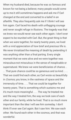 Ann Druyan on Carl  Sagan after his death