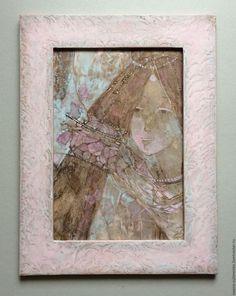 """Купить """"Бабочки"""" картина-любование. Авторская графика. - бледно-сиреневый…"""