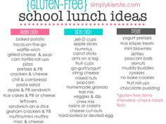 A month of Gluten-Free School Lunch Ideas, with a free printable cheat sheet! Lots of easy and great ideas! A month of Gluten-Free School Lunch Ideas, with a free printable cheat sheet! Lots of easy and great ideas! Gluten Free Diet, Foods With Gluten, Dairy Free Recipes, Paleo Diet, Lactose Free, Ibs Diet, Gluten Free Menu, Diabetic Recipes, Lunch Snacks