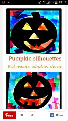 Kid Made window decor for Halloween: Pumpkin Silhouettes Craft. Instead of adding picture window effect and frame, have students cut out 2 black pumpkin silhouettes so that its pretty on both sides of the window Theme Halloween, Halloween Crafts For Kids, Halloween Activities, Halloween Projects, Fall Halloween, Holiday Crafts, Preschool Halloween, Halloween Witches, Happy Halloween