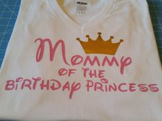 Mommy of the Princess VNECK, Mommy of the birthday girl Tshirt white with light pink by WestEnderleBoutique on Etsy