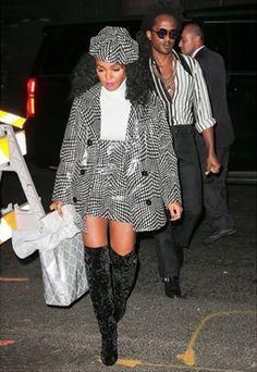black and white hat, jacket, and mini skirt + white turtleneck + black velvet over the knee boots