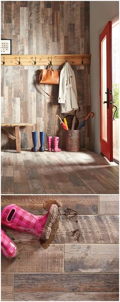 The look of wood floors in the mudroom??? Absolutely! This ceramic tile from Marazzi has the authentic and highly detailed look of reclaimed wood, but with the easy care and durability of tile. Now you can enjoy the warm, rustic look of reclaimed wood without worrying about mud, pet paws, bumps or scrapes.