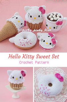 Crochet patterns amigurumi kawaii hello kitty 67 new Ideas Crochet Cake, Crochet Food, Crochet Gifts, Crochet Keychain Pattern, Crochet Amigurumi Free Patterns, Crochet Dolls, Kawaii Crochet, Cute Crochet, Hello Kitty Crochet