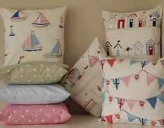 16  40cm DESIGNER Cushion  REVERSIBLE Nautical Beach Hut Sailing Spot Dotty Chic