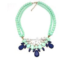 2013 Bubble Necklace, Beaded Necklace, Mint Bead Necklace, Flower Statement Gem Stone Wedding Party Crystal Bib Necklace (JS-N-0187)