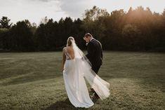Real Bride Jess wears Wynn WSP 616 by Daalarna from Sash & Bustle - Soft Wedding Dresses, Crepe Wedding Dress, V Neck Wedding Dress, Wedding Gowns, Bustle, Couture Collection, Bridal Style, Sash, Trendy Fashion