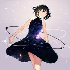 Anime picture 				800x800 with  		original 		achiki (artist) 		single 		short hair 		looking at viewer 		blue eyes 		black hair 		grey 		space 		personification 		girl 		dress 		black dress