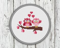 Valentine's Day Owls Cross Stitch Pattern Owl by CrossStitchShop