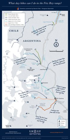 What day hikes can I do in the Fitz Roy range? Patagonia Map