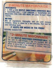 Condensed Milk Mayo - Mum's Cookbook (use fat free condensed milk for low cal version, just as yummy! Retro Recipes, Milk Recipes, Vintage Recipes, Cooking Recipes, Cooking Ideas, Cake Recipes, Healthy Recipes, How To Make Mayonnaise, Homemade Mayonnaise