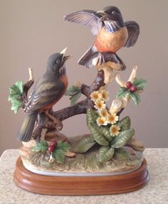 Andrea By Sadek Group Of Robins On Wooden Base