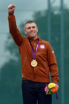 Gold Medalists - Vincent Hancock stands on the podium with the gold medal for Men's Skeet Shooting Skeet Shooting, Waterfowl Hunting, We Are The Champions, Summer Olympics, Olympic Games, Victorious, July 31, London, View Image