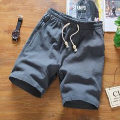 2016 Direct Selling Mid Elastic Waist Loose Casual Solid Quality Summer New Flax Man Blue White Beach Thin Linen Men Shorts