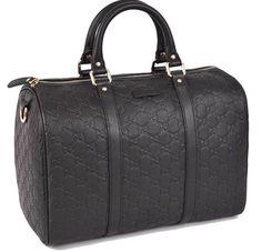 New GUCCI 265697 Black Leather GG Guccissima Boston Purse Hand Bag Satchel #Gucci #Satchel