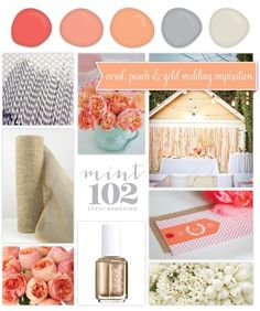 Coral, Peach and Gold Wedding Inspiration - Mint 102 Wedding Branding + Event Branding