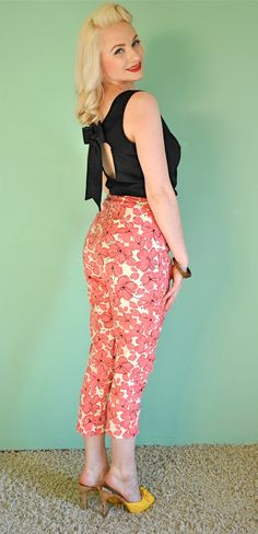 Vintage Cigarette Pants - 1950s Vintage Pinup Style - Tiki Tropical Floral Print and High Waist Cut. $58.00, via Etsy.