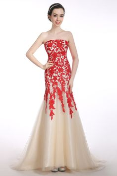 Mermaid Strapless Lace-up Long Pron Dress Evening Gwons With Red Appliques  Cheap Mermaid Prom d37acfdb8d3f