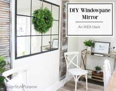 DIY Windowpane Mirror using IKEA LOTS mirror packs and black chalk paint. #ikeahack