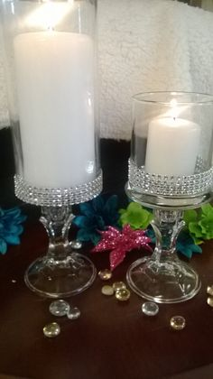 Set of six vases, Wedding centerpiece, bridal shower, bling wedding, rhines. Set of six va Floating Candle Centerpieces, Bridal Shower Centerpieces, Wedding Vases, Diy Centerpieces, Wedding Table, Pillar Candles, Diy Wedding, Trendy Wedding, Hanging Candles