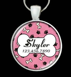 Custom Pet ID Tag - Dog Name ID Tag - Custom name & phone number. Dusty Pink with Paws Bones. Design No. 121