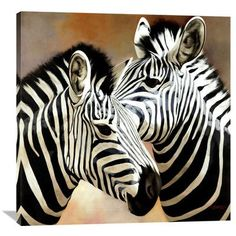 Global Gallery 'Zebra Pair' by Arcobaleno Painting Print on Wrapped Canvas Size: