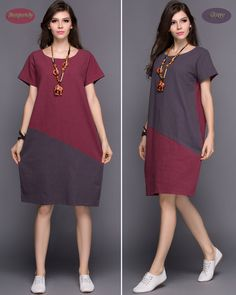 Any Size Joint two color linen dress casual loose long by AnySize