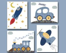 Car Rocket Plane Train Baby Boy Nursery Decor Baby Art Print Baby Nursery Print Set of 4 Blue Gray Yellow Baby Gifts - Basteln mit Schere - Unsere Kinder und Mehr