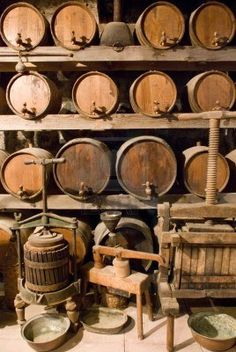Wine barrels stacked in the old cellar of the winery. cellar Wine barrels stacked in the old cellar of the vinery Cider Press, Barris, Wine Vineyards, Wine Art, In Vino Veritas, Italian Wine, Wine Storage, Wine And Spirits, Wine Making