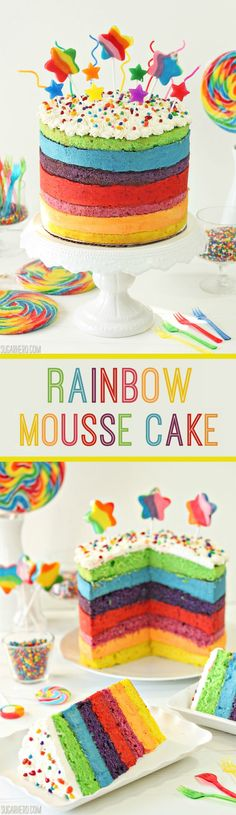 Rainbow Mousse Cake - seven layers of cake and mousse, each a different fruit flavor. It's amazing! | From SugarHero.com